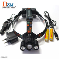 Zoomable התאם פוקוס XM-L T6 LED ראש מנורת 8000 LM מתח גבוה LED פנס 4 Mode LED פנס + מטען + 2x18650 סוללה + USB