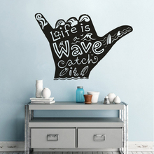 Waves Hand Vinyl Wall Art Decal Shaka Surfing Sports Wall Poster  Surfering Wave Quote Vinyl Stickers Surfer Hand Mural AZ119 цена 2017