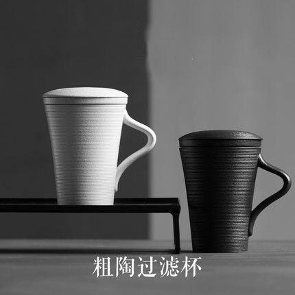 Houmaid Drinkware traditionnel chine céramique tasse à thé et soucoupe avec boîte-cadeau, porcelaine noir/blanc set de thé avec couvercle de tasse filtrante
