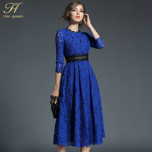 H han queen 2018 Spring New Womens Lace Dresses Floral Crochet Hollow Out Vestido Patchwork Casual Slim Office Party Long Dress