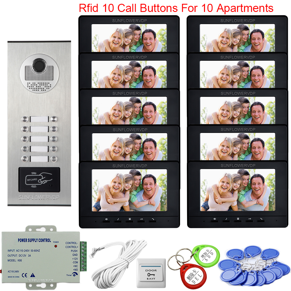 7inchs Color Video Intercom For Apartments Access Control Intercom On 10 Buttons Video Door Entry System For Home Intercom Door