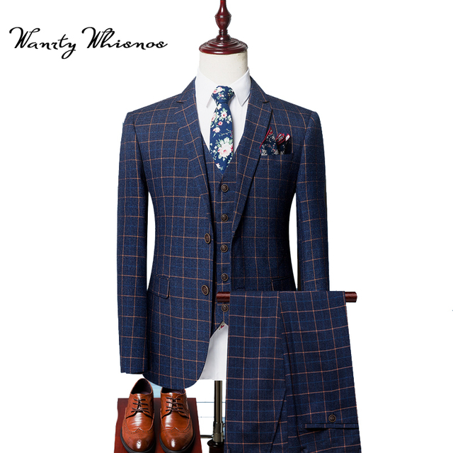 Style Mode 8 Costume Plaid Piècesensemble Hommes Angleterre 2018 jL54q3AR