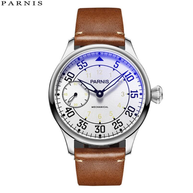 купить 44mm parnis White Dial Yellow Number Sea-gull ST3600 hand winding 6497 mechanical mens watch по цене 7068.21 рублей