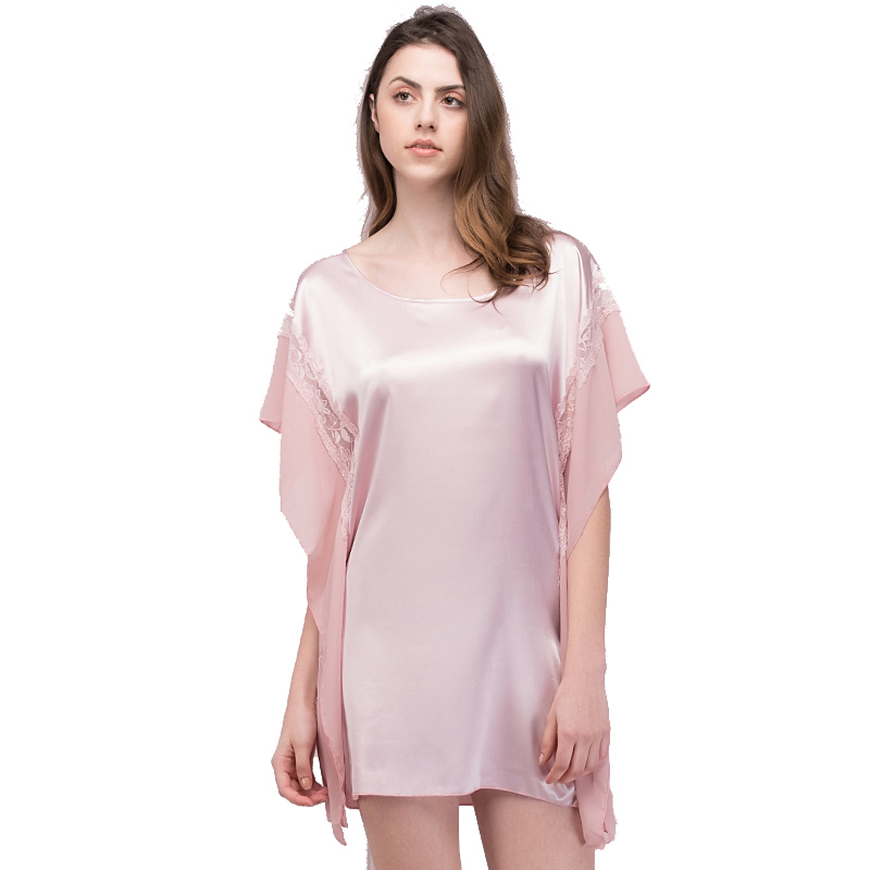 New Summer Women Loose batwing-sleeved blouse Night Dress Female Sexy Round Neck Short   Nightgown   Vestido   Sleepshirts