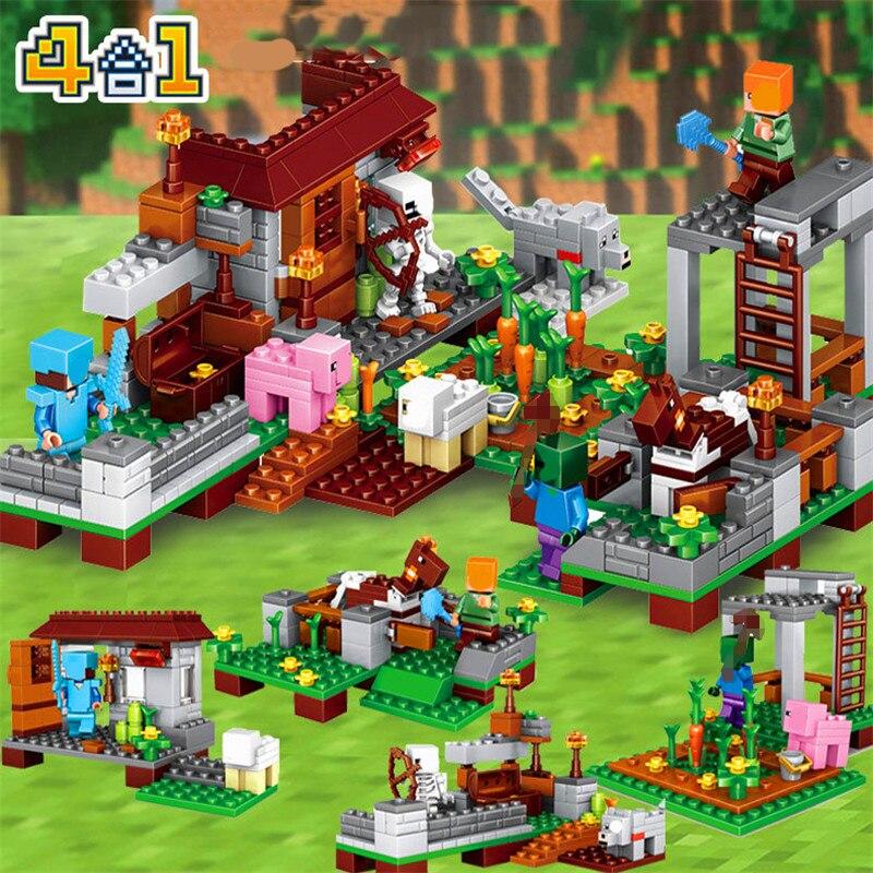 2018 Minecrafted Model Village Figures Building Blocks SSet Compatible Legoed City Enlighten Bricks Toy For Kids 1