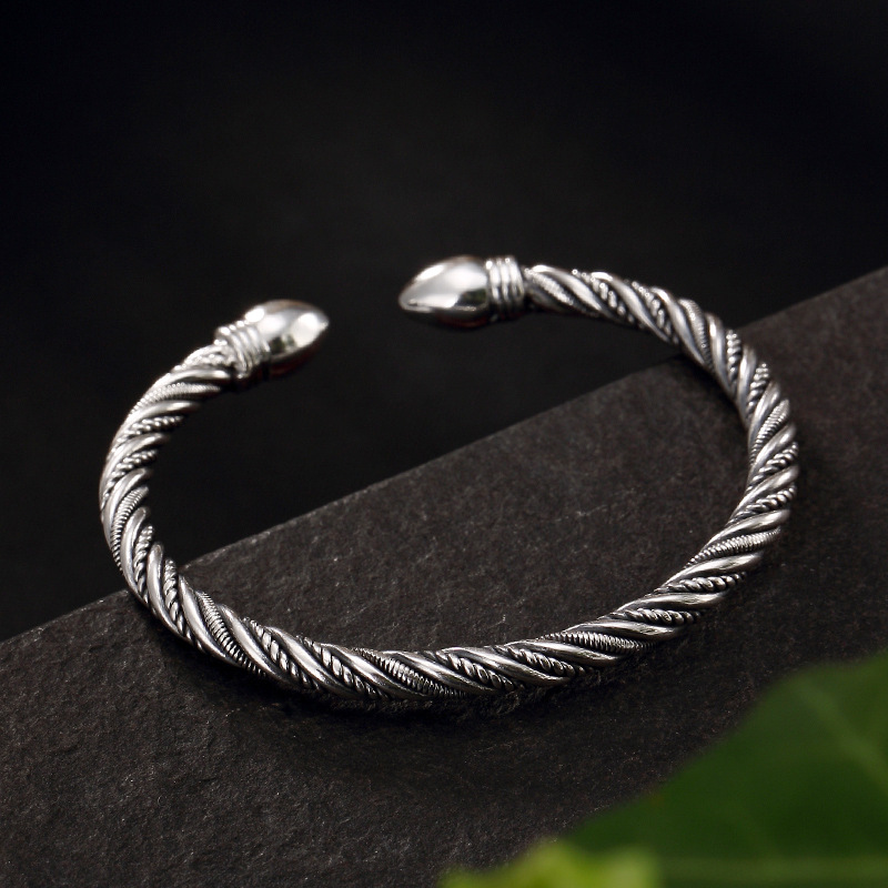 2018 Time-limited Bangle Thai Restoring Ancient Ways Do Old Weaving Twisted Lines Open Ms Sterling Bangle Bracelet Wholesale ornament punk wind restoring ancient ways do old crusades flowers bag buckles 925 sterling silver jewelry wholesale