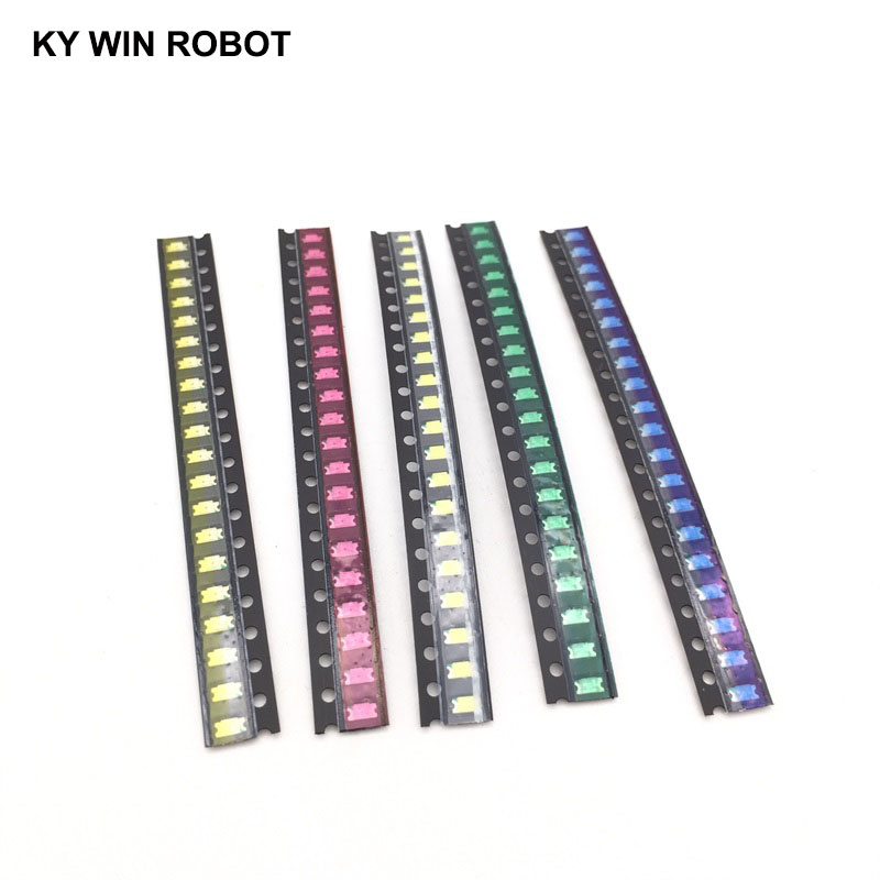 100pcs=5 colors x20pcs 1206 SMD LED light Package Red White Green Blue Yellow 1206 led kit Orange Warm whiteFree Shipping