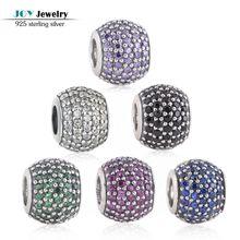6 colores 925 diamantes de imitación de plata micro pave bola charms adapta europea pulseras de marca cubic zircon charm lw170