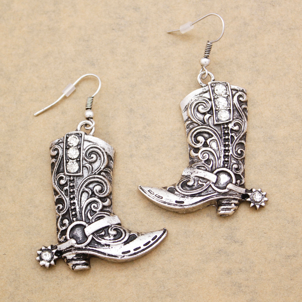 bc80f0650 Western Wild West Silver Cowgirl Boots Spur Rodeo Earrings Oorbellen Brinco  Fancy Dress Costume Steampunk Jewelry