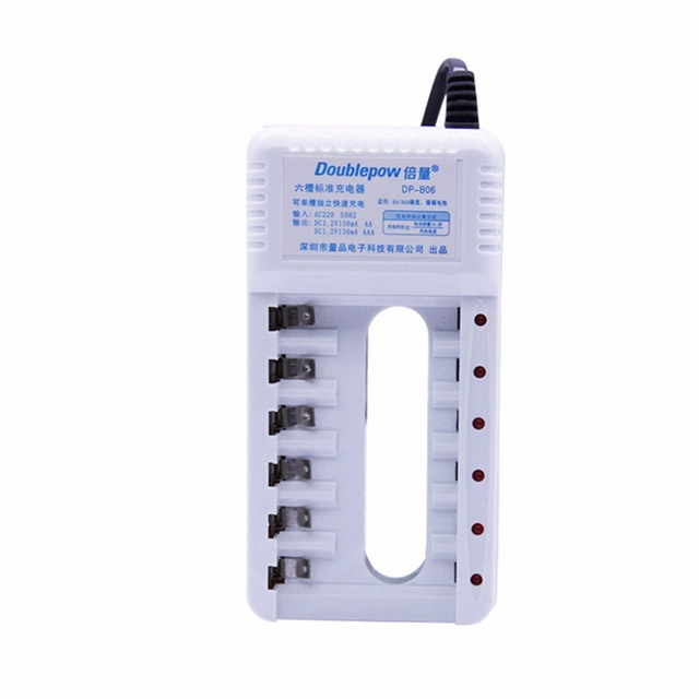 Universal Doublepow 220V 50/60Hz 6 Slots AA AAA Battery Charger Portable Mulfunctional Charge For Rechargeable Batteries