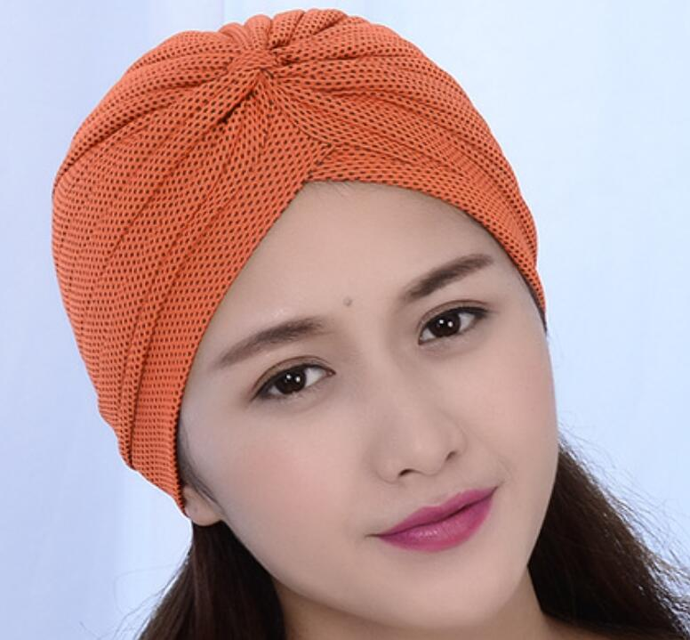 Indian cap chemo Wrap dotted beanies cancer turban hat Cap Chemo slip on bonnet 6 Colors 12pcs/lot free ship kishore ram indian readings on indian writings in english