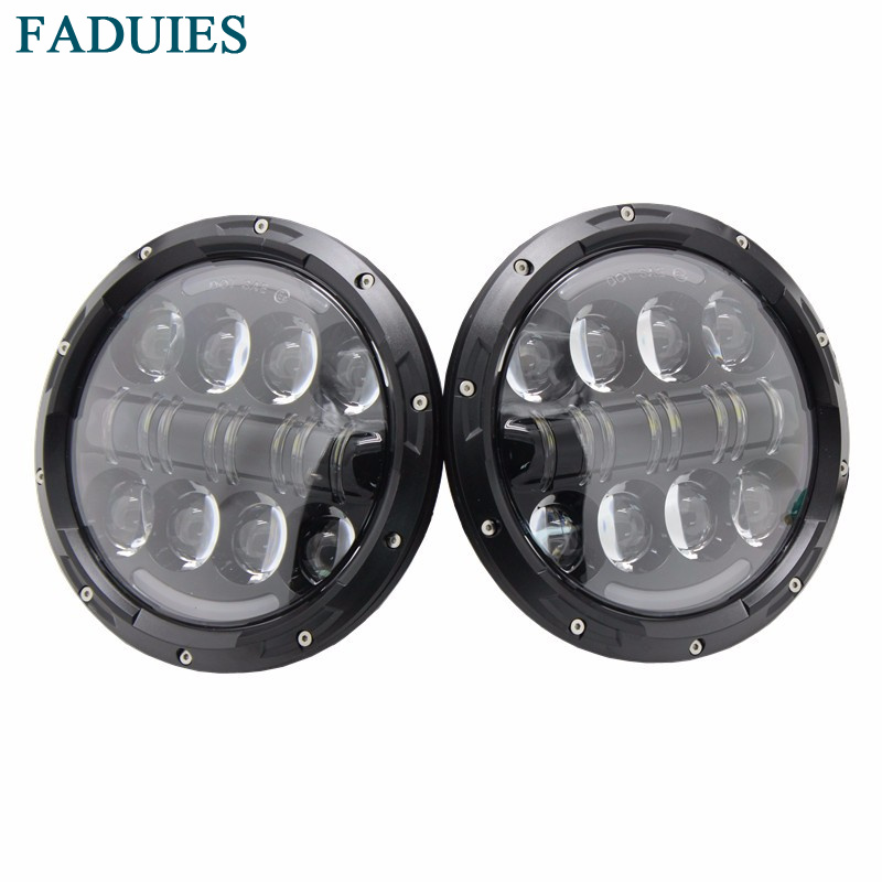 FADUIES 7 Inch Round 80W LED Headlights High Low Beam With Halo Angle Eye/Amber Turn Signal For Jeep Wrangler Jk Hummer H1 & H2 7 inch 80w round led headlights high