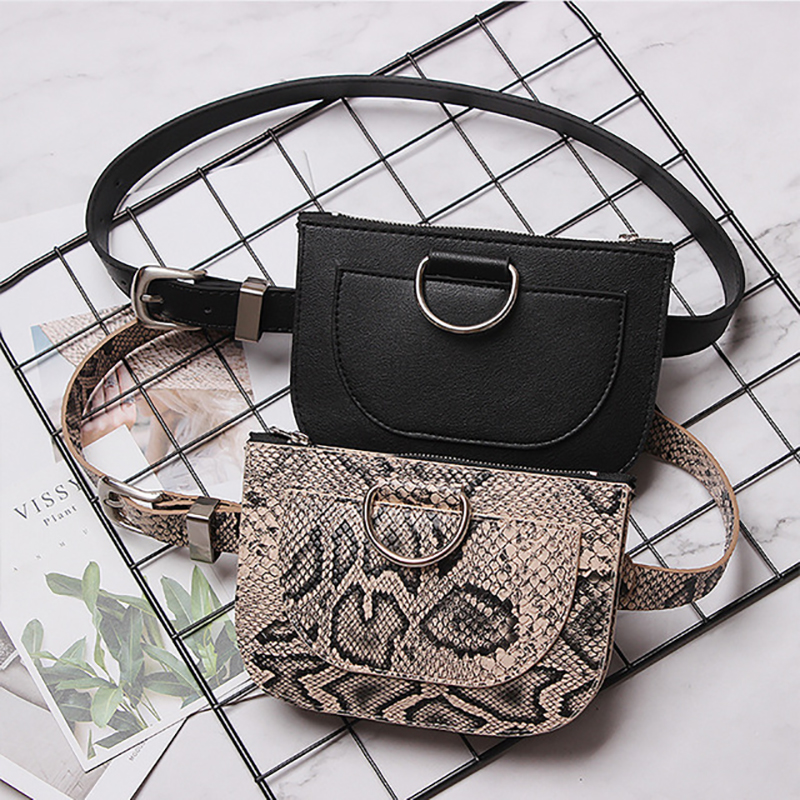 Women Waist Pack Serpentine Bag 2019 Fanny Pack Leather Chest Bag Female Fashion Snake Skin Belt Bag New Purse