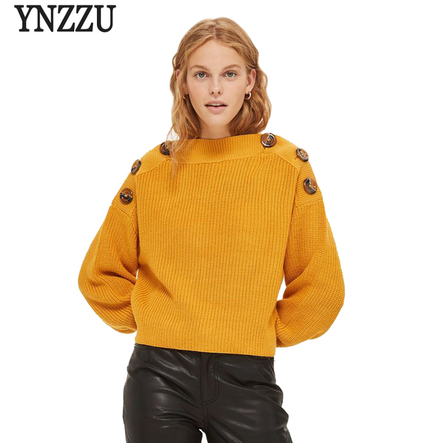 2017 New Autumn Winter Women Sweater Casual Yellow Long Sleeve Buttons  Loose Knitted Sweater Pullovers Pull Femme Jumper AT112 7e573dfcf