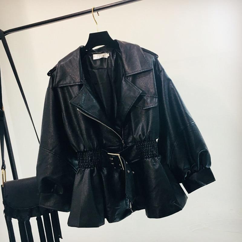 Spring Autumn Long Sleeve Pu Faux   Leather   Jackets Women Lapel Slim Sashes Design Black Coat Female 2019 New Motorcycle Outwear