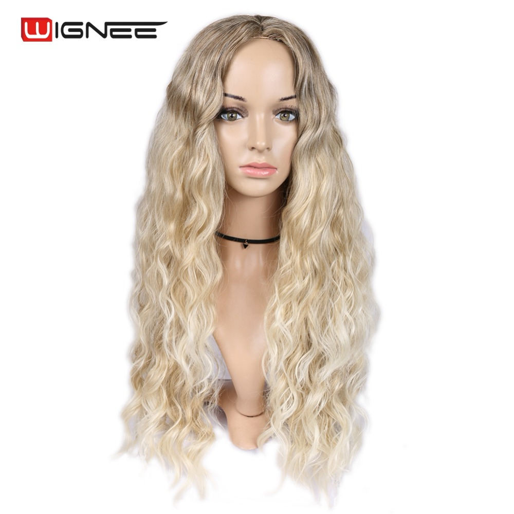 Wignee Middle Part Afro Kinky Curly None Lace Synthetic Wigs For Women Mixed Brown Ash Blonde Glueless Cosplay Long Hair Wigs