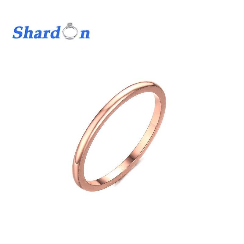Shardon IP Rose Gold-покрытие Кольца из нержавейки полированный 1.5 мм обручальное Обручение кольцо изысканные украшения для партии