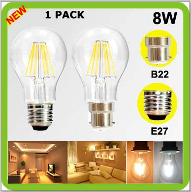 2 year warranty 1PACK 120V 220V 230V 240V 8W LED filament bulb 360 degree a60 a19 E27 B22 bayonet COB led retro edision bulbs 450260 b21 445167 051 2gb ddr2 800 ecc server memory one year warranty