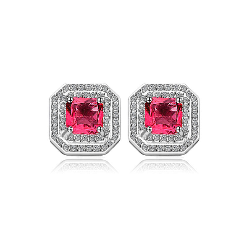 купить Women Trendy Square Shape Red Color Gems Stud Earrings Solid 925 Sterling Silver Jewelry Hearts and Arrows Cut Earring Gift онлайн