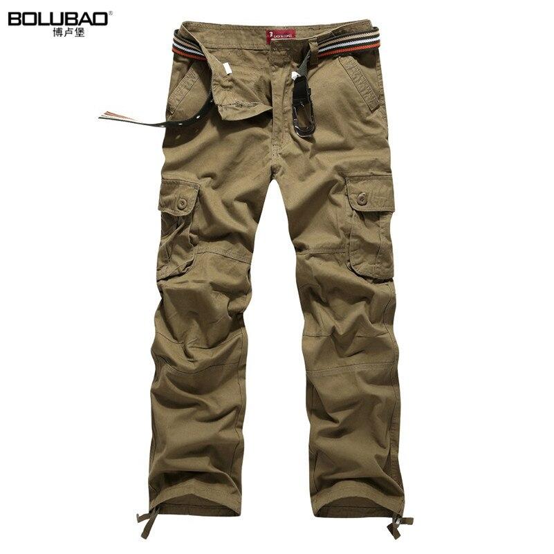 100% QualitäT Bolubao Männer Cargo Hosen Marke Neue Qualität Baumwolle Beiläufige Mens Solide Militär Hosen Multi Taschen Männer Taktische Hosen