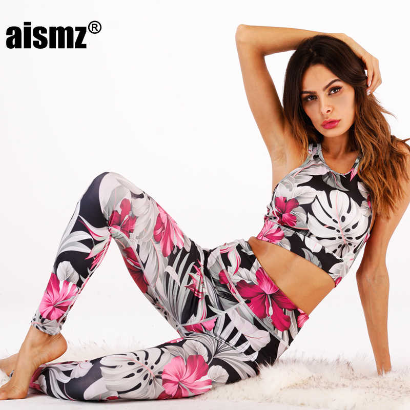 Aismz New Fitness Tracksuit Digital Printed Flower Workout Women Two Pieces Sets Female Sporting Bra Top Leggings women Clothing