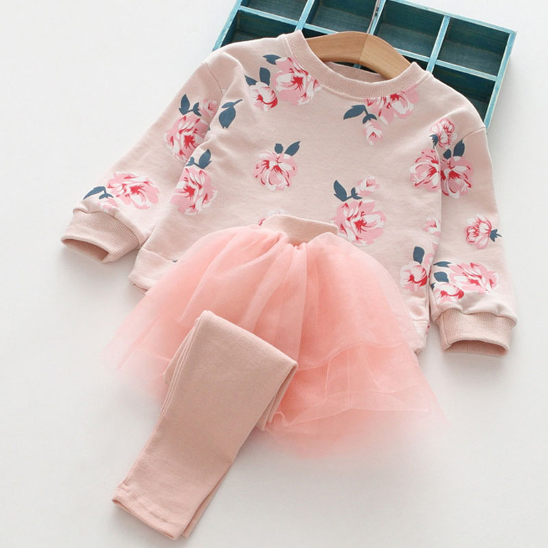 New Girls Clothing Sets Spring&Autumn Wear Girls Clothes Cotton Printing Long Sleeves Net yarn splicing Dress Pant Kids Sets girls spring sets 2017 new children s leisure clothing suit fashion long sleeves cotton shirts girls pants 2 pieces kids clothes