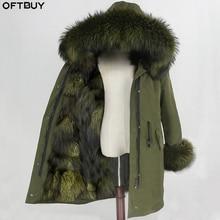 OFTBUY Parka larga impermeable para mujer, abrigo de piel auténtica, chaqueta de invierno, capucha de piel de mapache, forro de piel de zorro cálido y desmontable