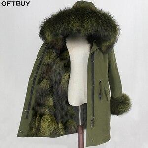 Image 1 - OFTBUY Parka larga impermeable para mujer, abrigo de piel auténtica, chaqueta de invierno, capucha de piel de mapache, forro de piel de zorro cálido y desmontable
