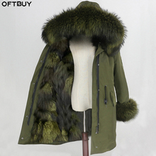 OFTBUY עמיד למים Parka ארוך הלבשה עליונה אמיתי פרווה מעיל חורף מעיל נשים דביבון פרווה צווארון הוד בטנת פרוות שועל חם להסרה