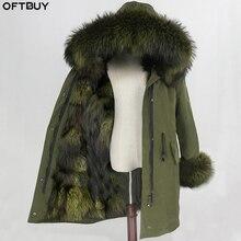 OFTBUY للماء سترة طويلة الفراء الحقيقي معطف الشتاء سترة المرأة الراكون الفراء طوق هود الثعلب الفراء بطانة الدافئة انفصال