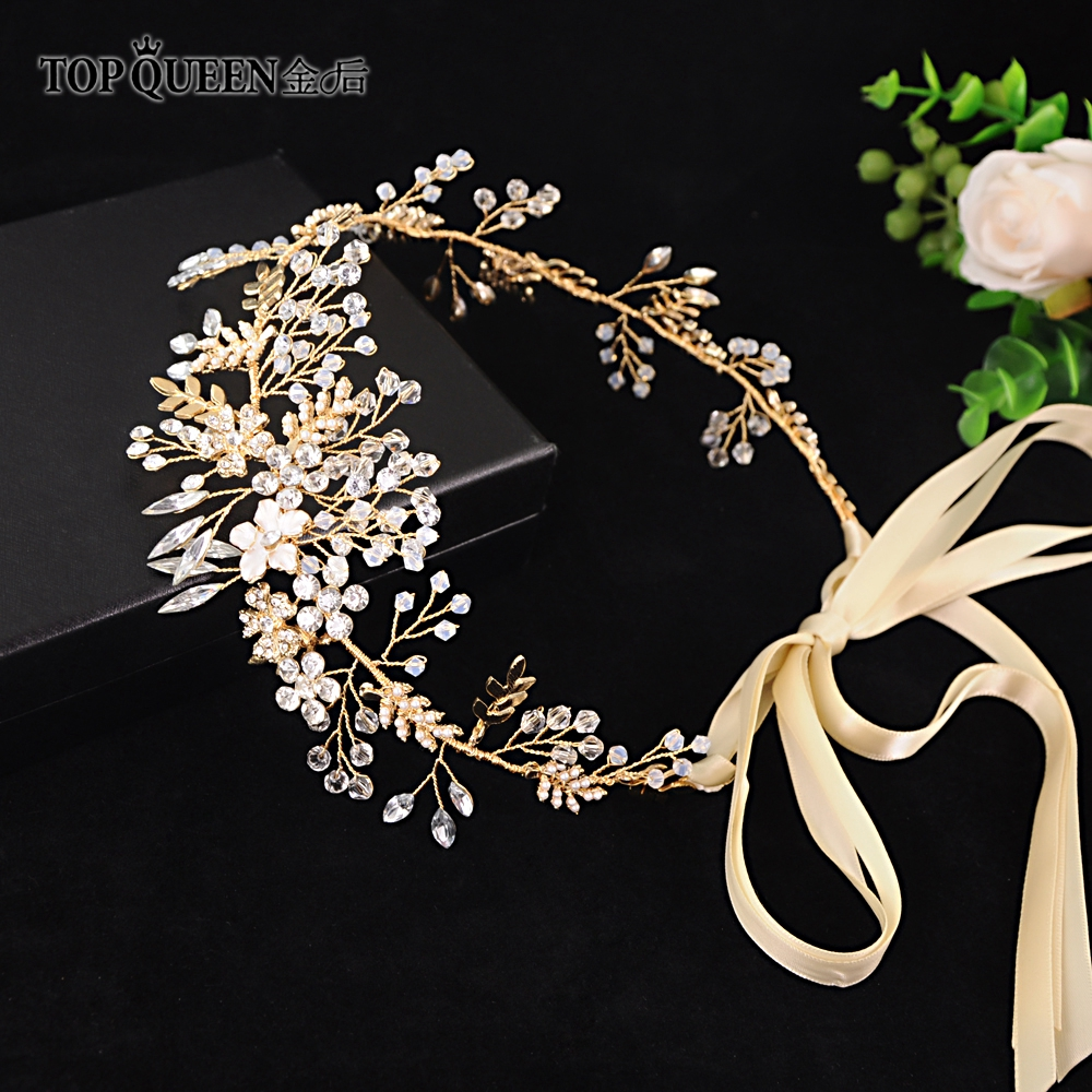 TOPQUEEN HP235 Bridal Headband Tiaras And Crowns Of Rhinestones Wedding Headpieces Hair Ornaments For Women Wedding Headdresses