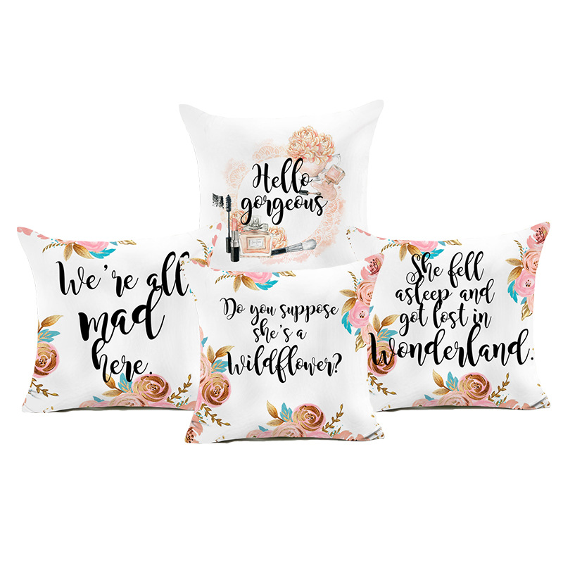 GIGIZAZA White Cushion Covers for Sofa Couch with Word Home Decorative Throw Pillow Covers Cases print pillowcases Suqare Bed