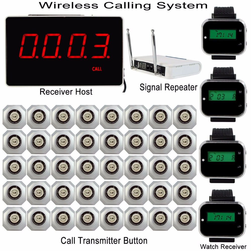 Wireless Calling System with Receiver Host +4pcs Watch Wrist Receiver +Signal Repeater +40pcs Call Transmitter Bell Button Pager wireless service call bell system popular in restaurant ce passed 433 92mhz full equipment watch pager 1 watch 7 call button