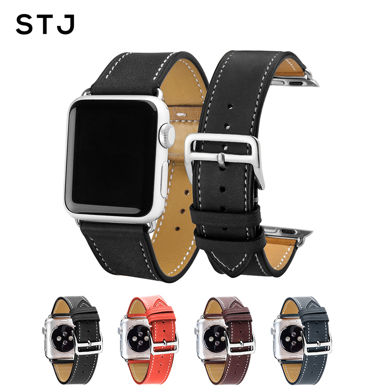 STJ Brand Calfskin Leather Watchband For Apple Watch Band 38mm 42mm Series 4/3/2/1 Leather For iWatch Sports Strap 40mm 44mmSTJ Brand Calfskin Leather Watchband For Apple Watch Band 38mm 42mm Series 4/3/2/1 Leather For iWatch Sports Strap 40mm 44mm