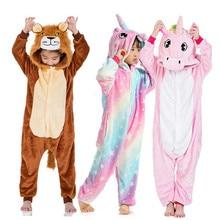 Children Kids Rainbow Star Unicorn Pajamas Winter Pyjamas Flannel Hooded Pijama Sets Animal Sleepwear For Girls Boys Sleepwear