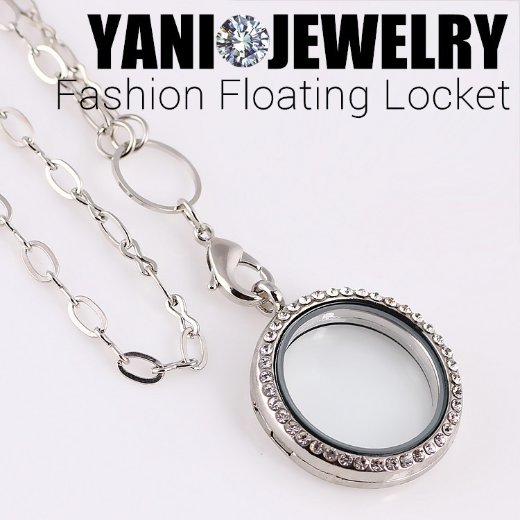 10pcs / lot Shuyani Mix Colors 30mm Round Magnetic Glass Floating Charm Locket con diamantes de imitación (cadenas incluidas gratis)
