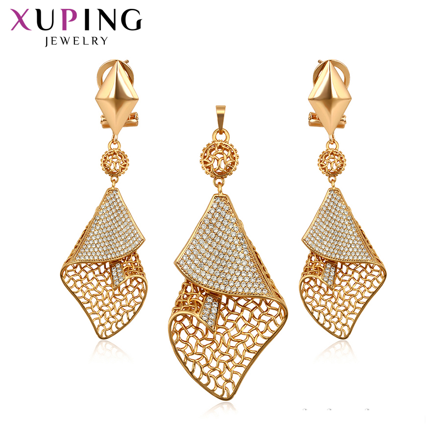 Xuping Charms Styles Unique Design for Women Gold Color Plated Sweet Little Fresh Jewelry Sets Nice Family Gifts S200.9-65412