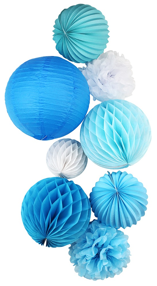 (Blue,White) 8pc Paper Decoration Set Paper Crafts for Wedding Birthday Bridal Shower Baby Shower Nursery Doorway Patio Decor