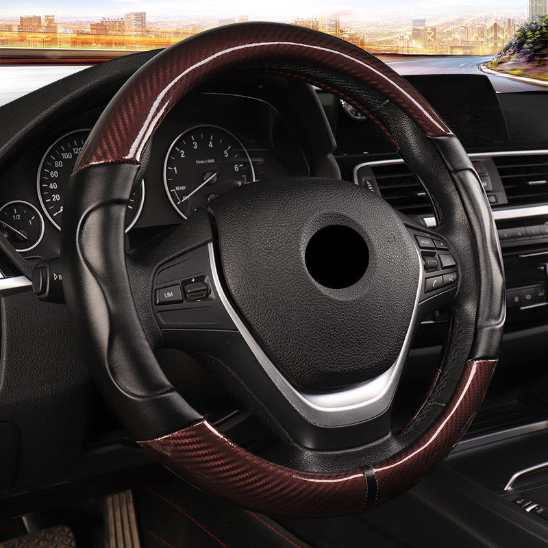 """BLACK//RED LEATHER STEERING WHEEL COVER GRIP ANTI SLIP FOR 14/"""" 15/"""" CAR P6"""