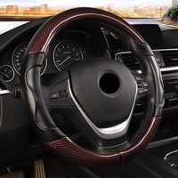 Carbon Fiber Sport Car Steering Wheel Cover Micro Fiber Leather Size M 38cm for BMW X1 X3 X5 X6 E36 E39 E46 E30 E60 E90 E92