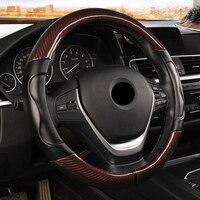 Carbon Fiber Sport Car Steering Wheel Cover Micro Fiber Leather Size M 38cm for BMW X1 X3 X5 X6 E36 E39 E46 E30 E60 E90 E92