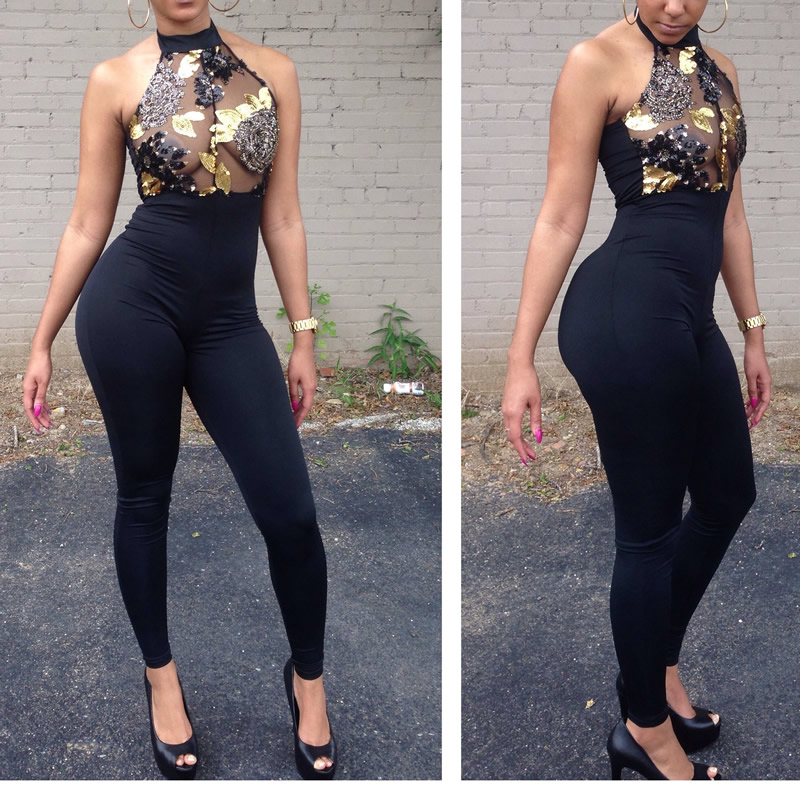 Black Fashion Halter Skinny Sequins+Micro Fiber Jumpsuit S-XL Size Women Sexy Sleeveless Jumpsuit 2018 New HIGH QUALITY