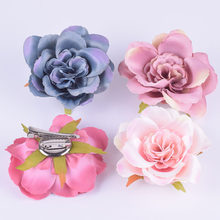 c03a5fc9c Fabric Blooming peony Flower Corsage Brooch woman Hair accessories Brooch  wedding party Hair Clip Bridal Bridesmaids