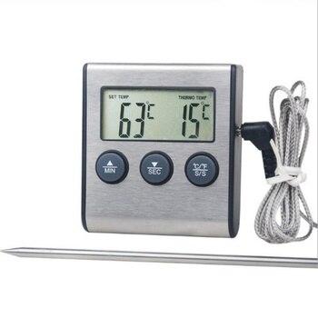 المطبخ الرقمية ميزان حرارة فرن الغذاء الطبخ اللحوم شواء مقياس حرارة بمجس مع الموقت المياه الحليب درجة حرارة الطبخ أدوات