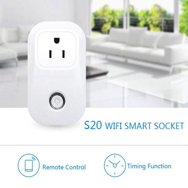 Sonoff S20 Wifi Inalámbrico Zócalo Teledirigido Inteligente Toma de Corriente de Casa LA UE EE.UU. REINO UNIDO AU Estándar para Android y ios Teléfono Inteligente del Hogar