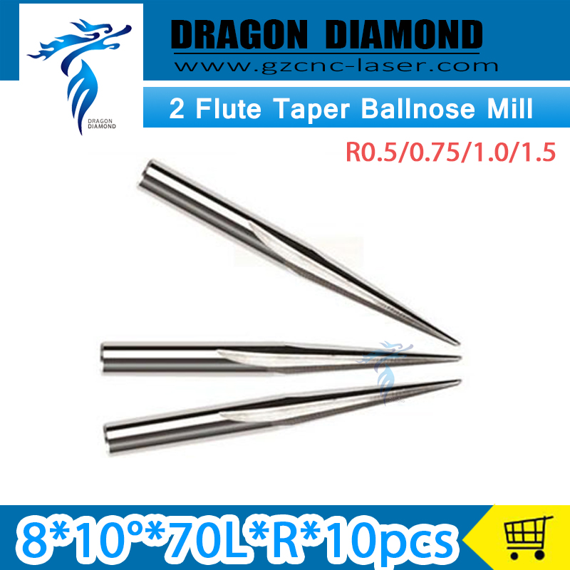 10pcs x 8*10D*70L R0.5 R0.75 R1.0 R1.5 Two flute taper V shape bits CNC Router end mill for engraver big shank 8mm 3 175 12 0 5 40l one flute spiral taper cutter cnc engraving tools one flute spiral bit taper bits
