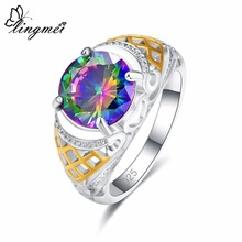 lingmei Rings for Women Gorgeous Solitaire Style Round Cut Multicolor & Red Zircon Silver 925 Ring Size 6 7 8 9 Wedding Gifts