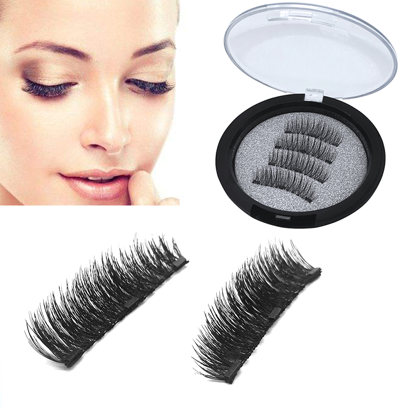Natural 4pcs/pair 3 Magnetic Eyelashes 3D False Eyelashes With 3 Magnets Handmade Fake Lashes Extension With Gift Box