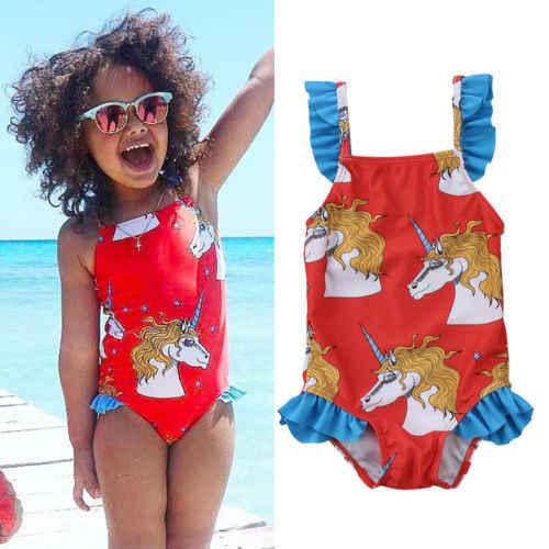 7f58ed5b4b0bb Detail Feedback Questions about Newborn Baby Kids Lovely Girl Cute Unicorn  Animal Print Ruffles Swimwear Swimsuit Bikini Clothes 2018 Summer New on ...
