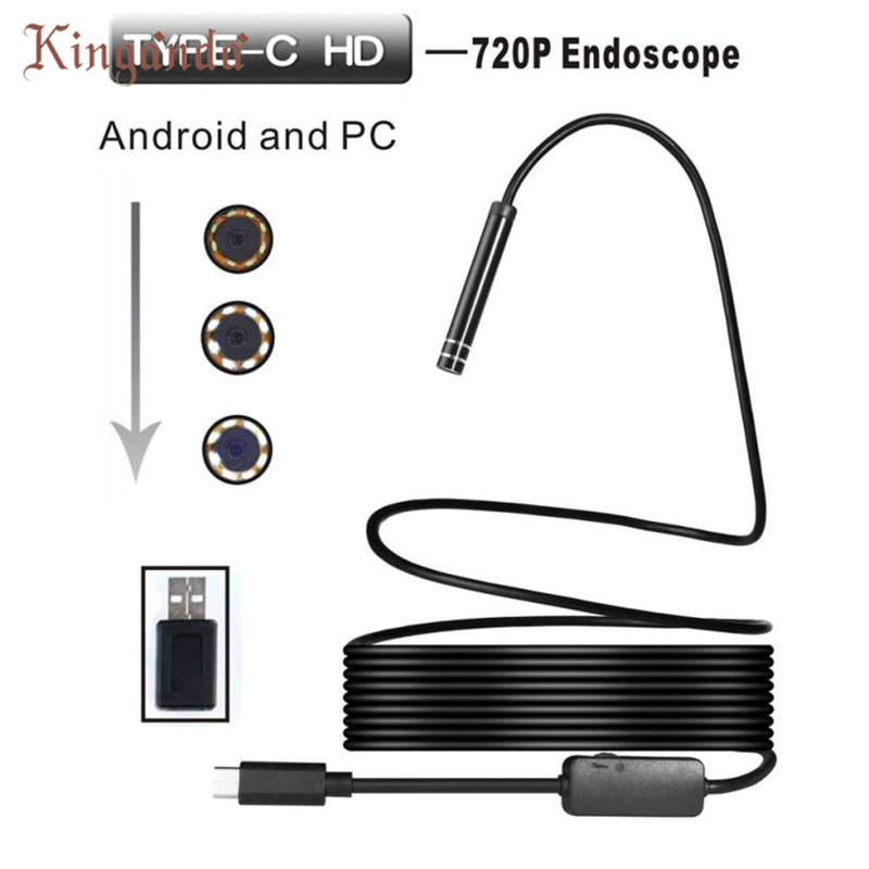 Webcam 1 M Android USB TYPE-C Endoscope Inspection 5.5mm Caméra 8 LED IP67 Étanche Camara Web Drop Shipping 17Aug10